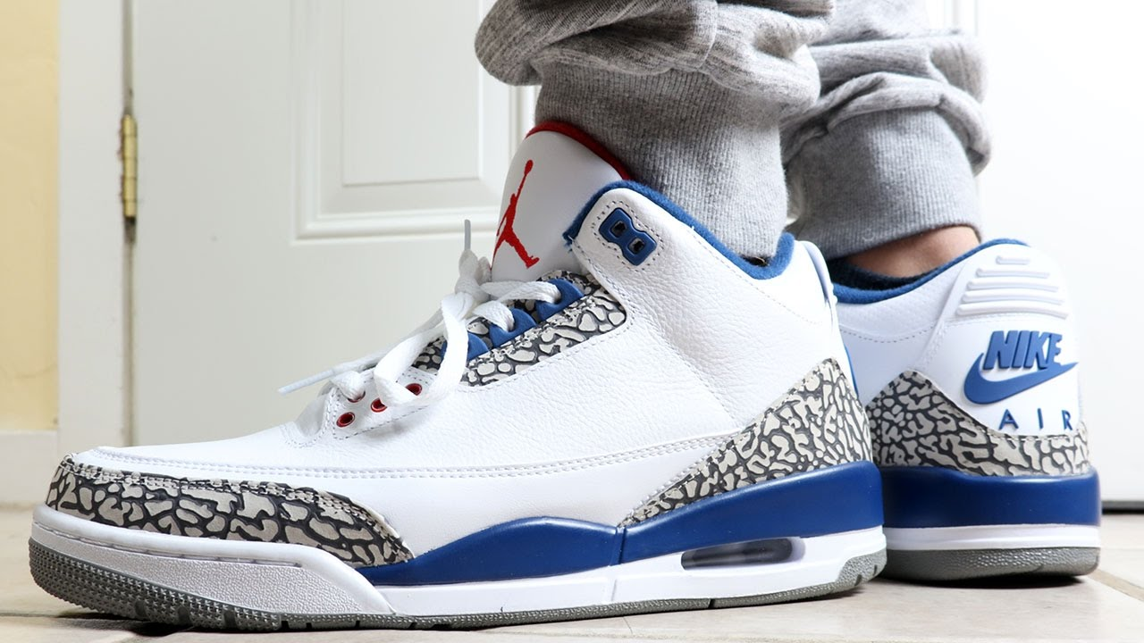 4e60029126ad Air Jordan 3 OG True Blue On Feet - YouTube