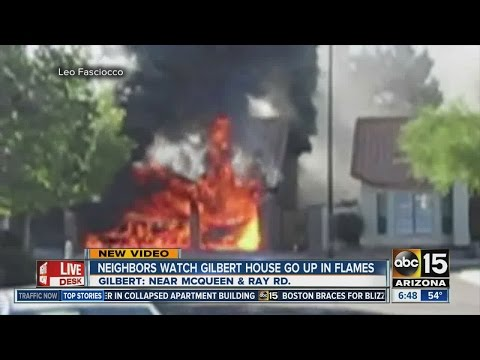 Neighbor captures video of ammo exploding in Gilbert house fire