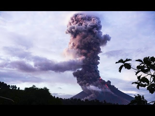 Mayon volcano in the Philippines spews lava and ash