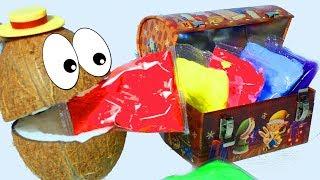 Воздушный пластилин для детей Поём Песенку про Пальчики с Мистером Кокосом и Учим цвета