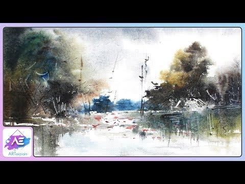 Transparent Watercolor Landscape Painting | How to paint a watercolor landscape | Art Explain