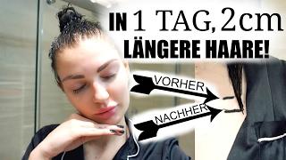 2CM LÄNGERE HAARE ÜBER NACHT | VORHER + NACHHER BILDER | Es funktioniert!