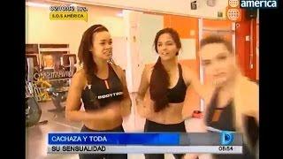 Luciana Fuster con Cachaza en el gym 25-oct-15
