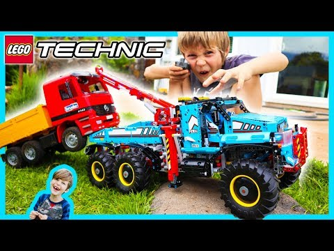 RC Lego Technic Tow Truck Towing Bruder Dump Truck - Lego Time Lapse Build