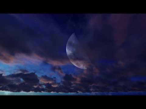 ( CGI 4k Stock Footage ) Halloween Huge Moon Twilight Night Sky Red Purple Clouds Seamless Loop 1
