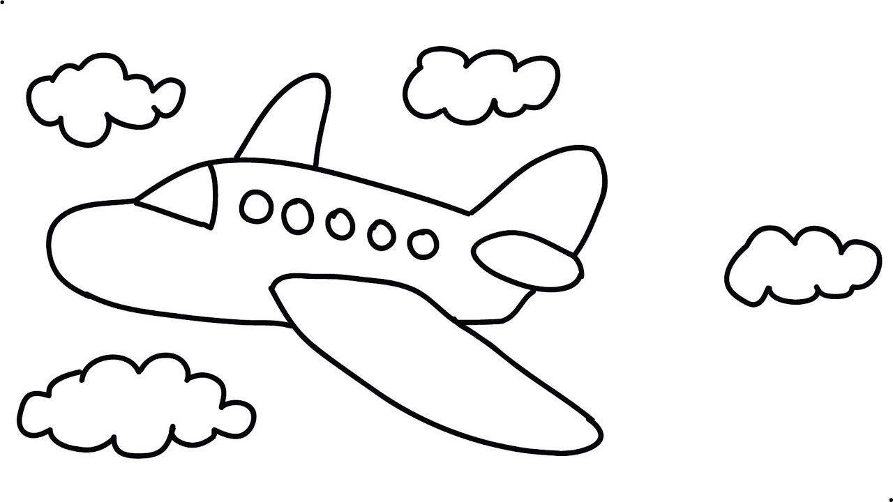 How to draw an airplane easy step by step draw a cartoon airplane very fast for kids