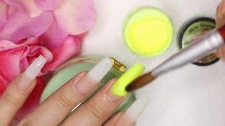 Diseno Efecto Ombre en Amarillo Neon con Swarovski y 3D