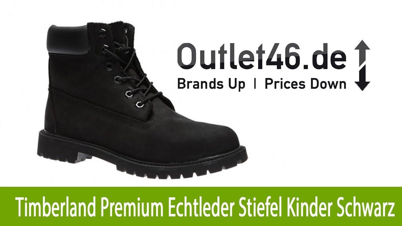 Timberland 6 Inch Premium Echtleder Stiefel Kinder Schwarz