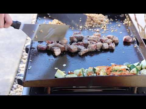 Blackstone Cook Of Hibachi Steak And Rice With Veggies