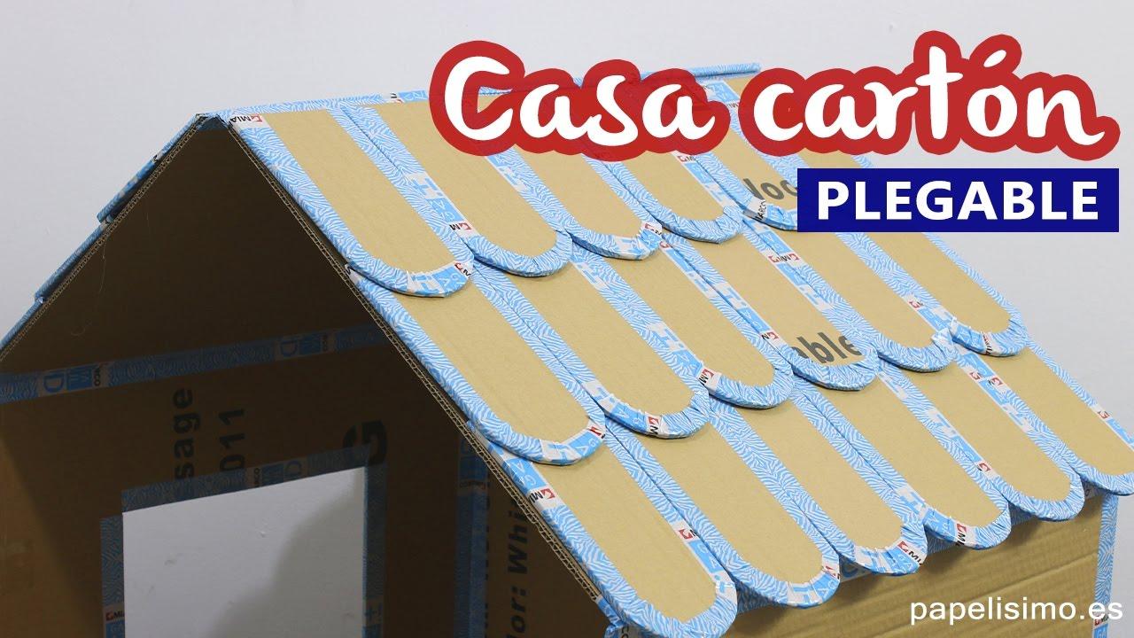 Cómo hacer casa de cartón para niños PLEGABLE - YouTube