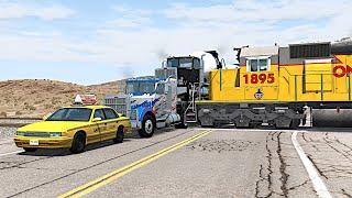 BeamNG Drive Vehicles Vs Trains