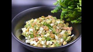 Салат с авокадо, лососем и яйцом | Кето салат с семгой