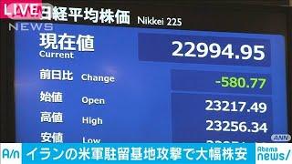 日経平均株価が一時500円安 米軍駐留基地攻撃で(20/01/08)