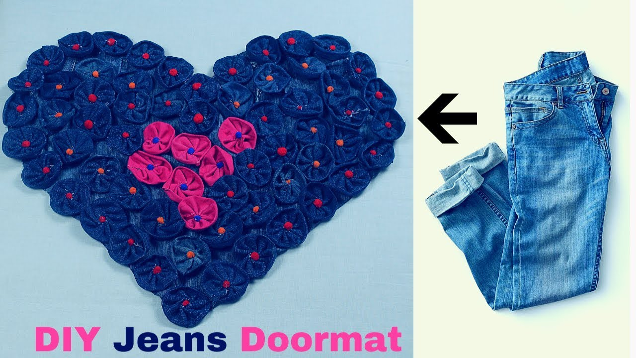 Old Jeans Recycling / How To make Awesome Door Mat, Rugs, Table ...