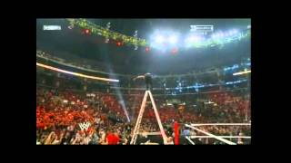 Jeff Hardy Swanton Bomb Off ladder Through Announce Table