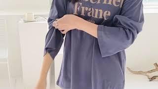 베이직 프랑 프린트 기본 라운드 여자 긴팔 티셔츠