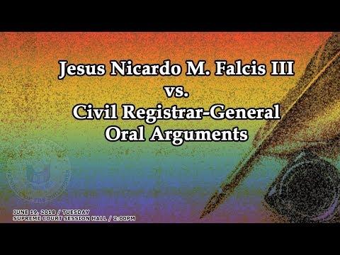 Jesus Nicardo M. Falcis III vs. Civil Registrar-General Oral Arguments