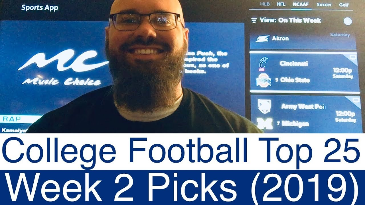 Week 2 College Football Top 25 Picks   Part 1 of 2   2019 NCAAF Sports  Predictions   NCAA CFB