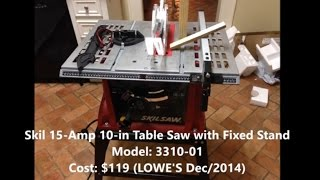 Assembly Of A Skil Table Saw 3310 10in 15amps - Step By Step
