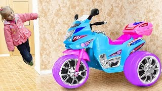 Alina Ride on Toy Sportbike & pretend play with toys. Five babies jumping on the bed