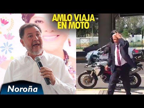 AMLO llega en Moto a la CIRT - Noroña