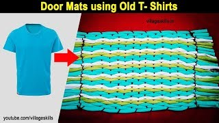 How to make Door mat using with old T - shirts,DIY old clothes recycling ideas,ragged rug, carpet