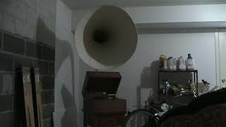 "32"" to 33"" Wide Horn handmade Gramophone Plays Louis Armstrong"