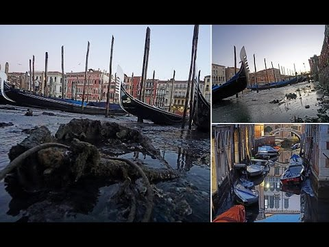 Unusually low tide exposes the unseen side of Venice's canal network