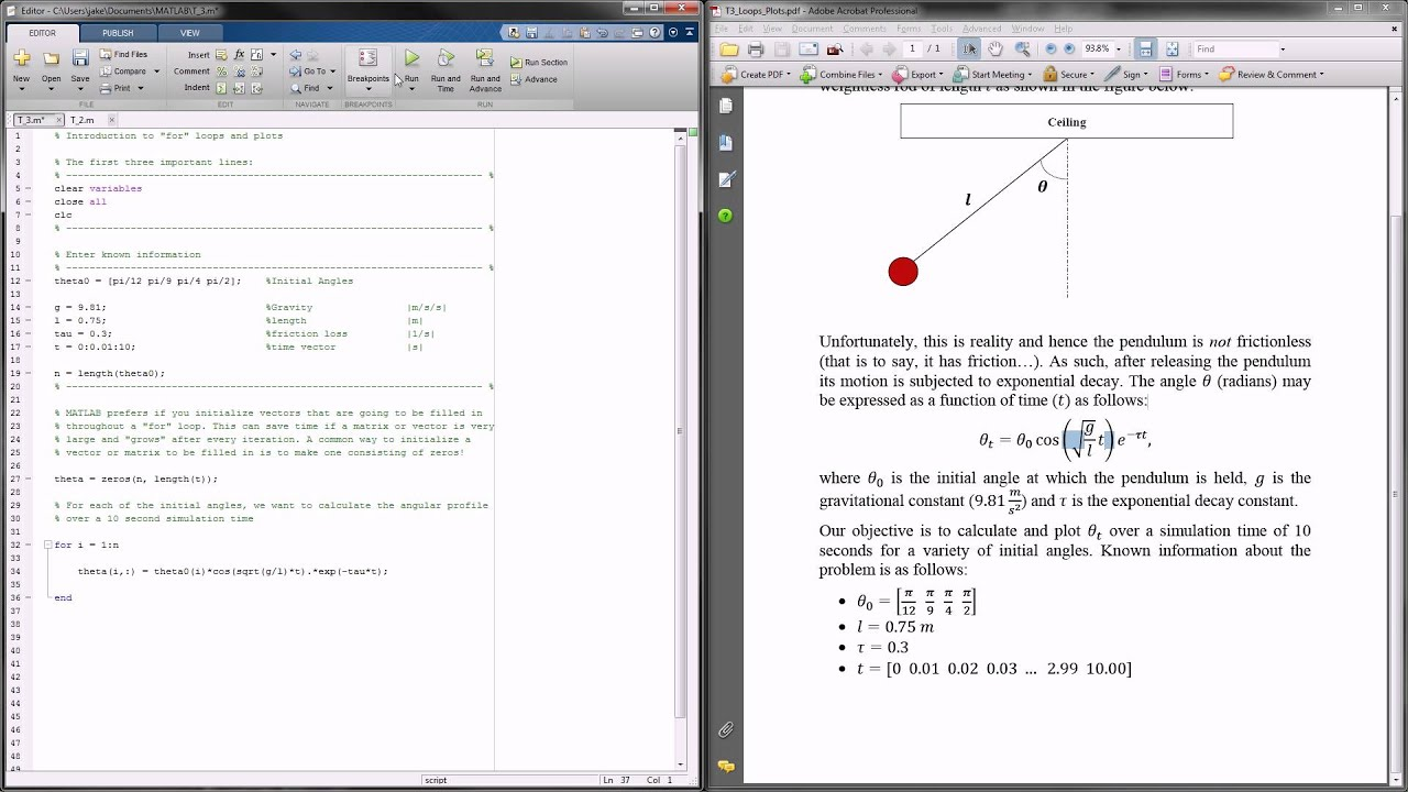 MATLAB Tutorial 3 - FOR Loops and Plots