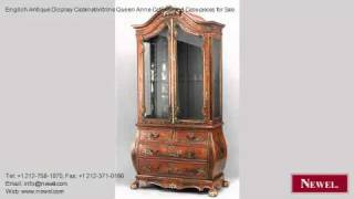 English Antique Display Cabinet/vitrine Queen Anne Cabinets