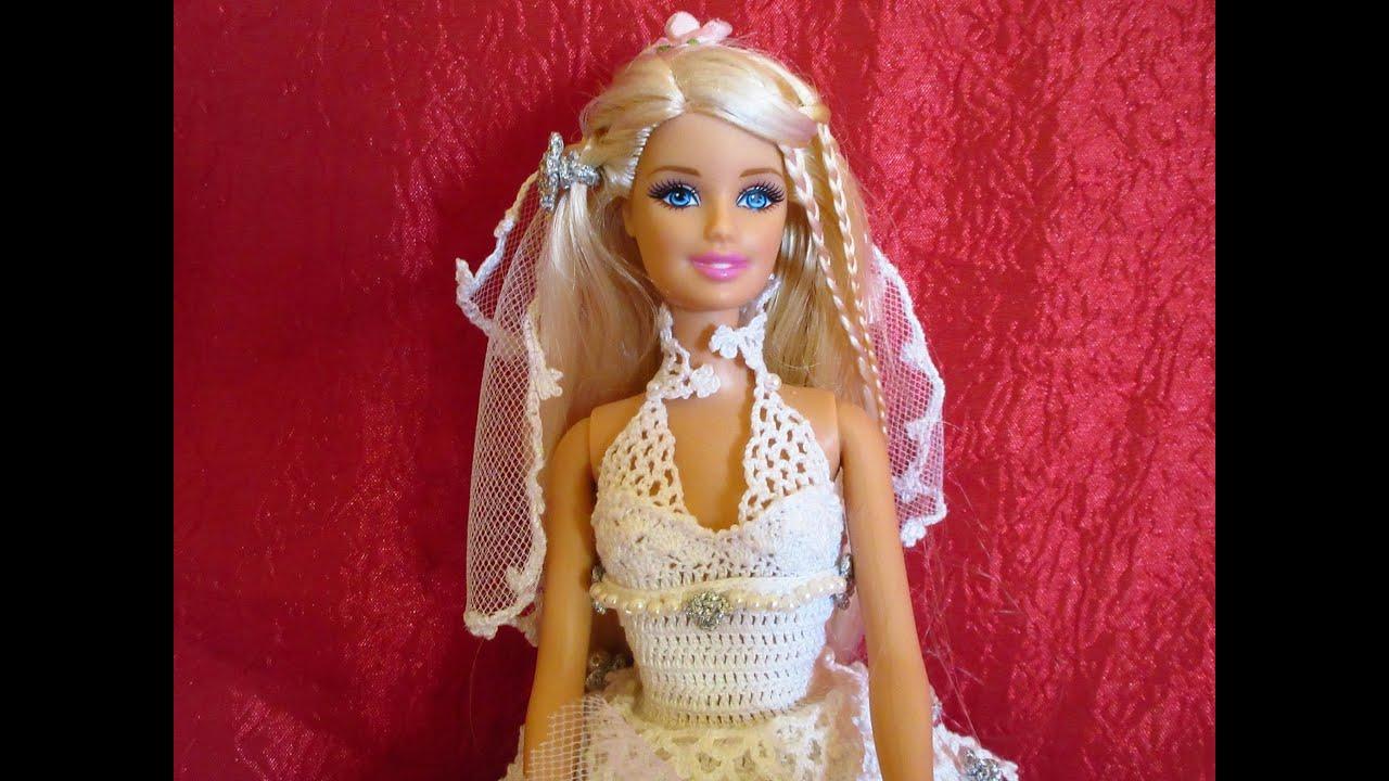 Lavori Artistici Alluncinetto Abito Da Sposa Per Barbie 3 Youtube