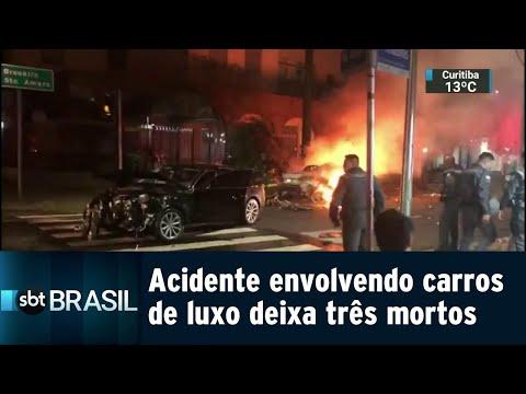 Acidente envolvendo carros de luxo deixa três mortos em São Paulo | SBT Brasil (03/08/18)