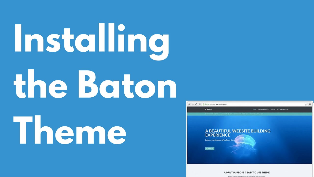 How to install the Baton WordPress free theme | Multi-purpose theme | Drag and drop
