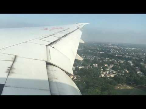 Powerful landing Air India DELHI to JFK New York B777-300ER