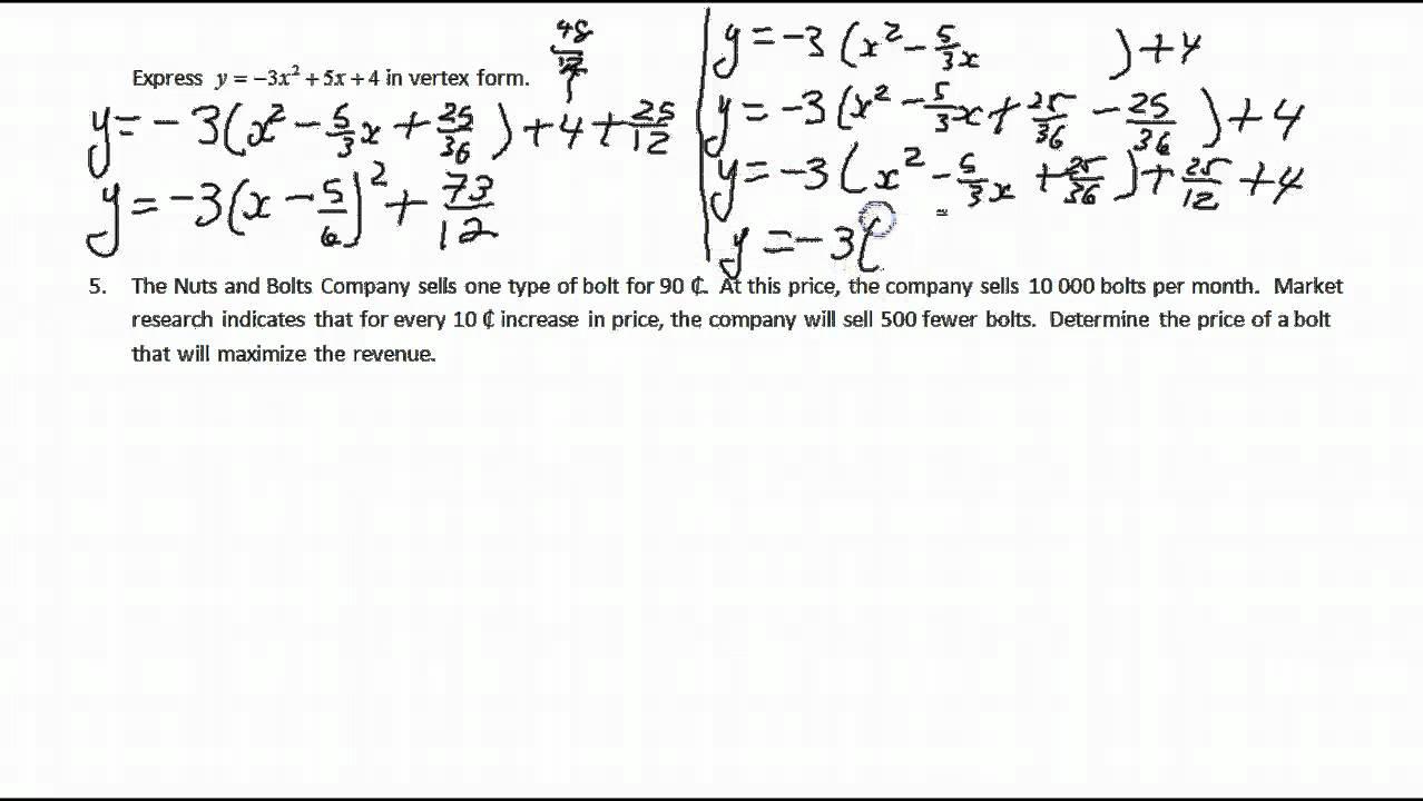 Quadratic functions review youtube quadratic functions review falaconquin