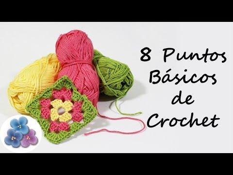 Como hacer 8 Puntos Basicos de Crochet Trapillo Curso de Crochet XXL ...