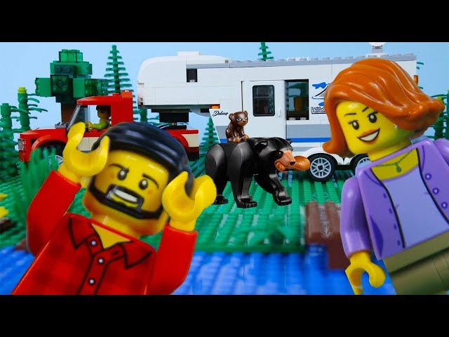 LEGO City Camping Fail STOP MOTION LEGO Camping Scary Bear! | LEGO City | By LEGO Worlds