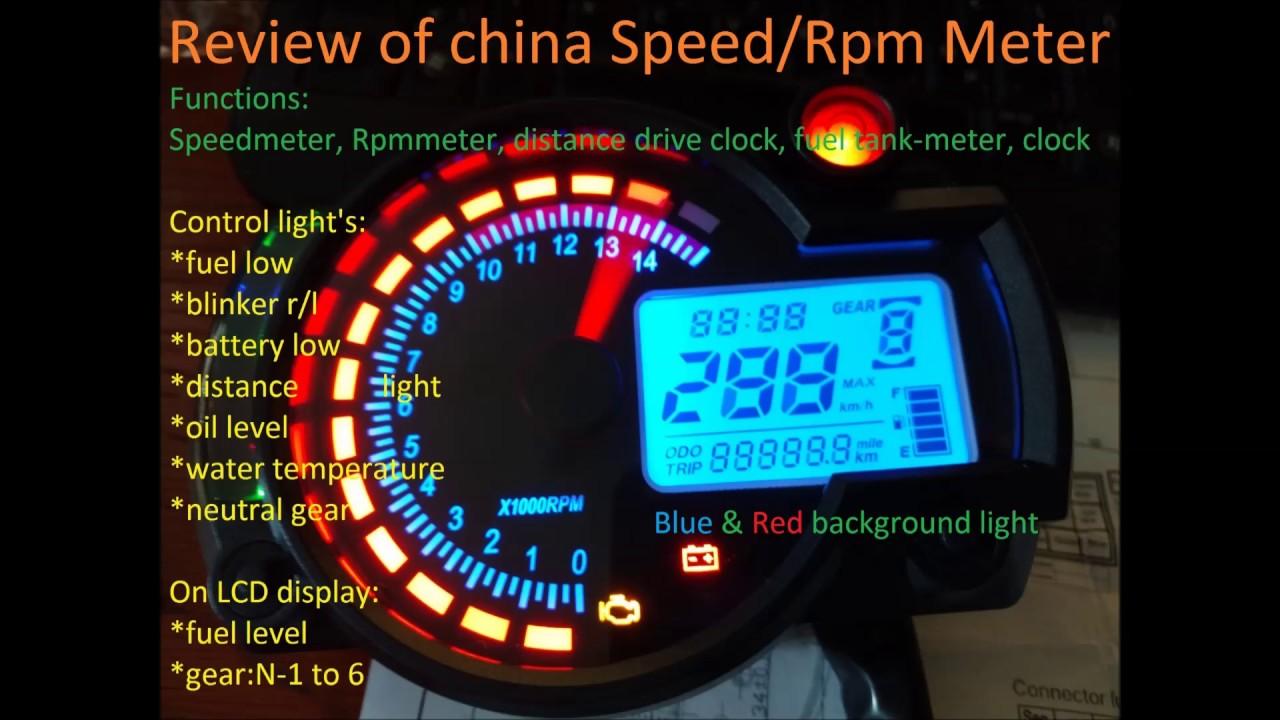 motorcycle universal speedometer digital speed rev odo meter tachometer review koso replica rx 2n [ 1280 x 720 Pixel ]