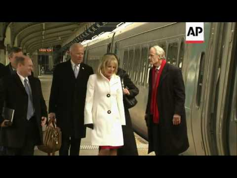 Raw: Former VP Biden Departs DC on Amtrak