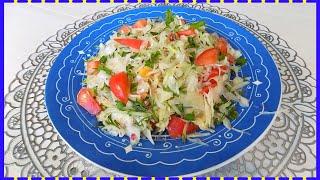 Овощной салат из свежей капусты с редисом