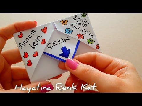 Kağıttan Kalpli Zarf  Yapımı. (Kalpli Mektup) Origami Yapımı.