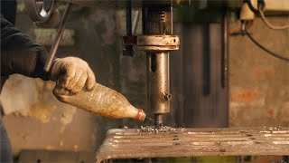 Shot of a drilling machine in action in a factory