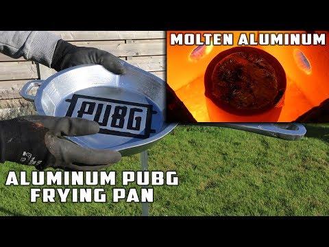 Casting GIANT Bulletproof PUBG FRYING PAN with MOLTEN ALUMINUM