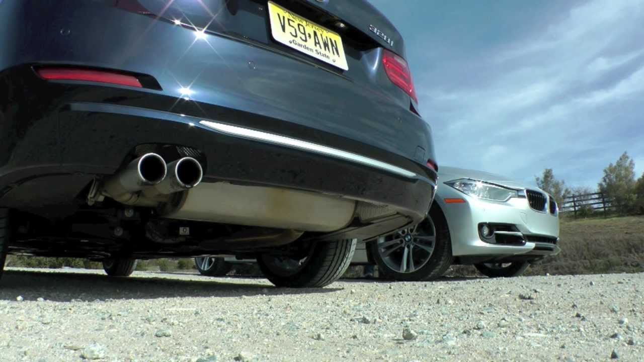 2012 f30 335i n55 vs 328i n20 engine exhaust and fly by sounds