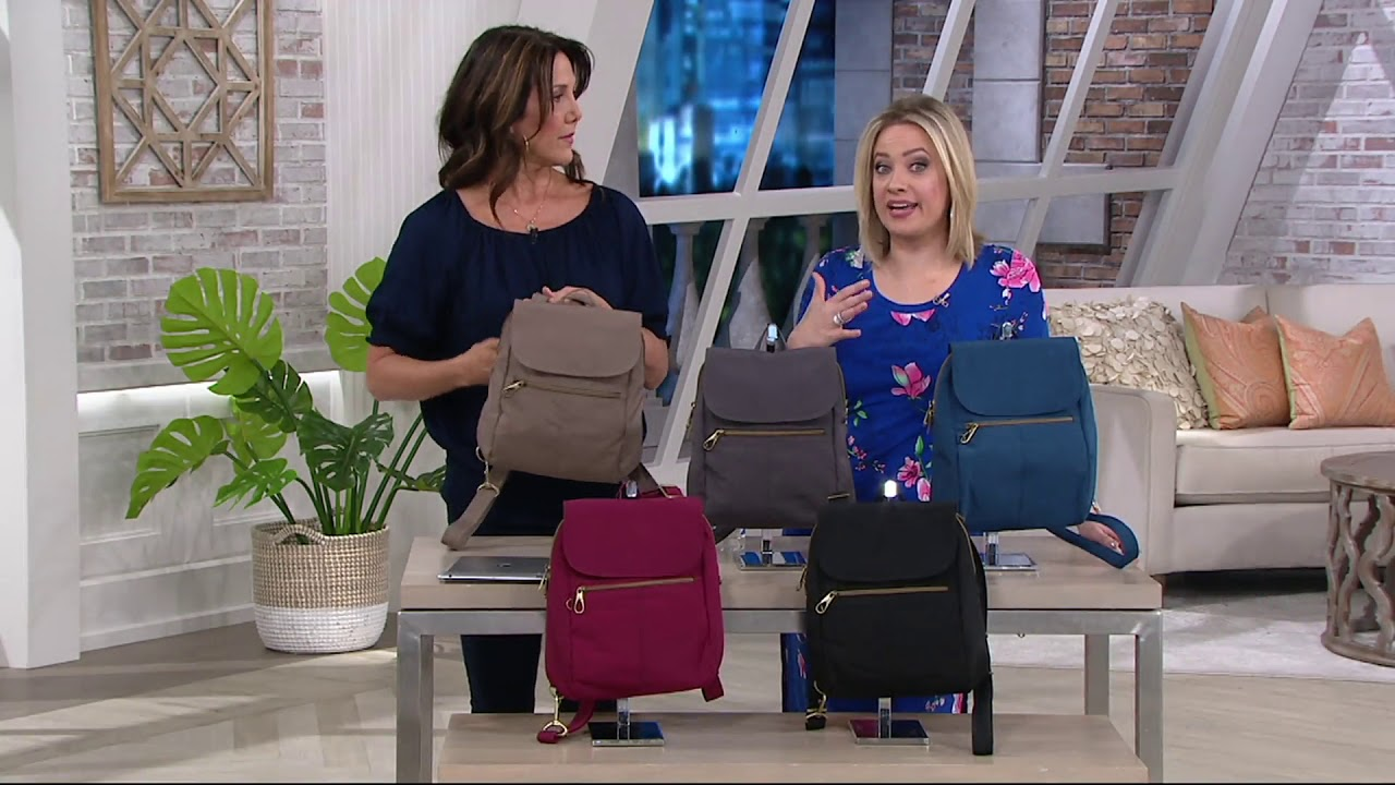 7def35f2edf Travelon Anti Theft Signature Slim Backpack on QVC - YouTube