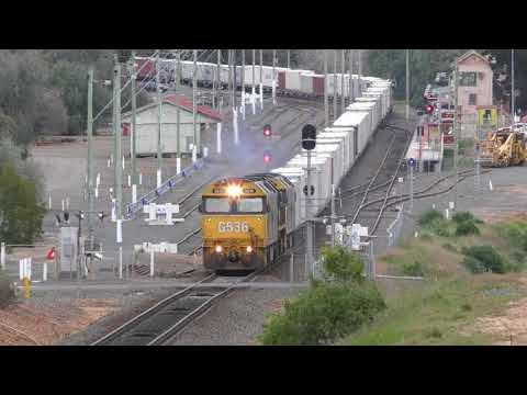 Very Rare Weekday Daytime Freight Train through Bacchus Marsh - 9102 Containers from Manangatang