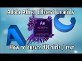 How to create 3D text/title in After Effects without additional 3D software