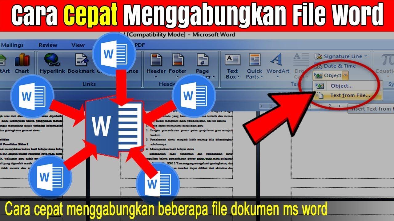 Cara Cepat Menggabungkan File Ms Word Youtube