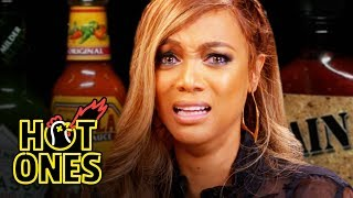 Tyra Banks Cries For Her Mom While Eating Spicy Wings | Hot Ones by : First We Feast