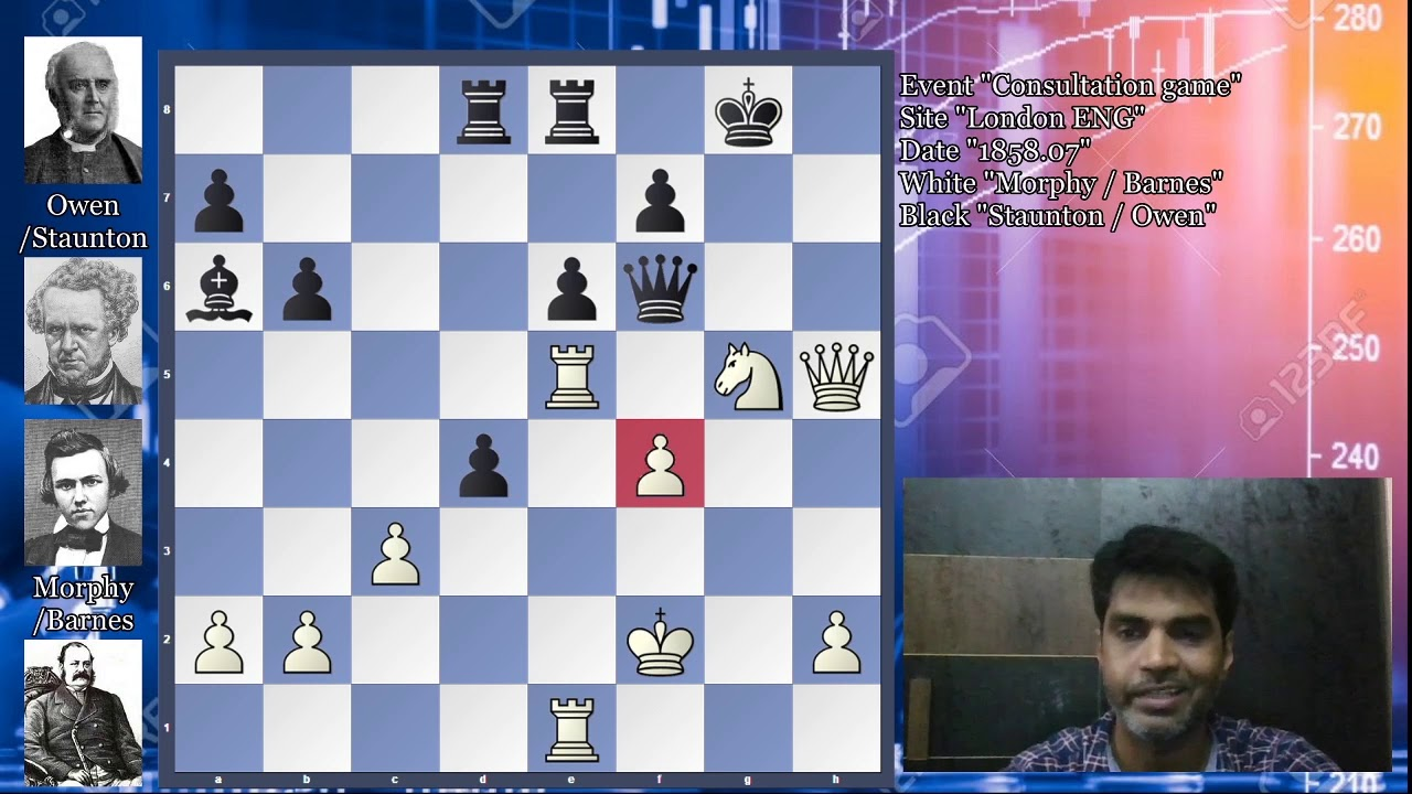 Four Player in One Game: Morphy/Barnes vs Staunton/Owen: 1858